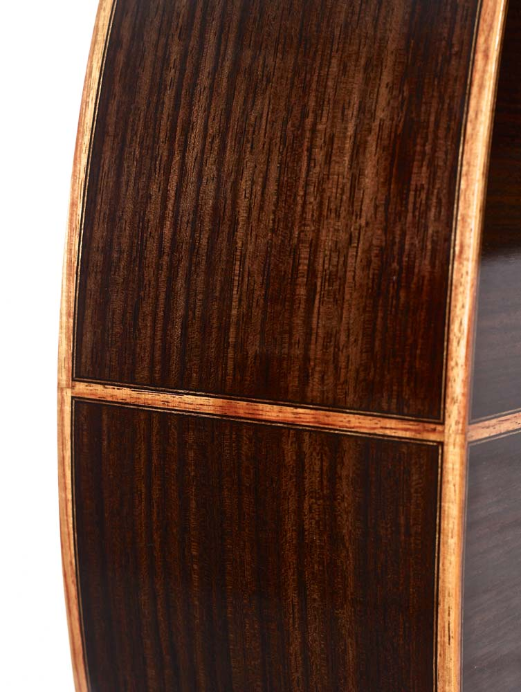 Classical guitar detail showing binding