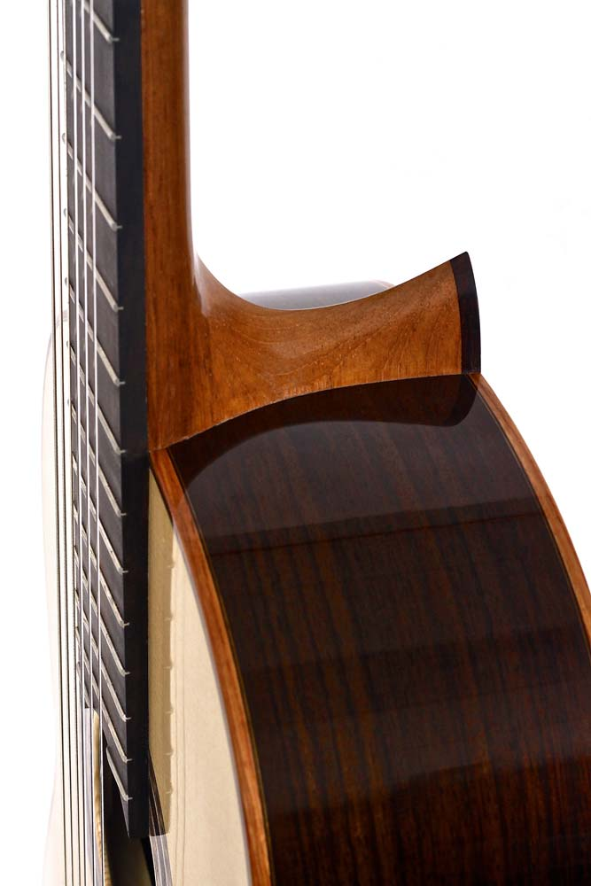 Heel of bespoke classical guitar